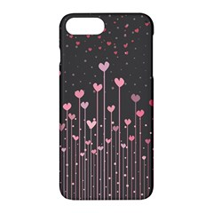 Pink Hearts On Black Background Apple Iphone 7 Plus Hardshell Case