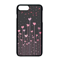 Pink Hearts On Black Background Apple Iphone 7 Plus Seamless Case (black)