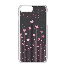 Pink Hearts On Black Background Apple Iphone 7 Plus White Seamless Case