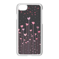 Pink Hearts On Black Background Apple Iphone 7 Seamless Case (white)