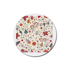 Spring Floral Pattern With Butterflies Rubber Round Coaster (4 pack)