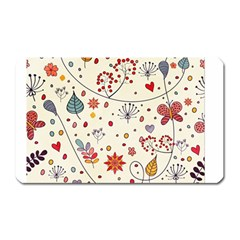Spring Floral Pattern With Butterflies Magnet (Rectangular)