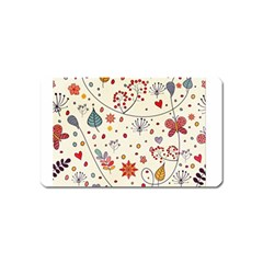 Spring Floral Pattern With Butterflies Magnet (Name Card)