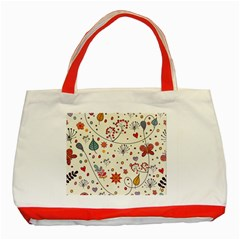 Spring Floral Pattern With Butterflies Classic Tote Bag (Red)