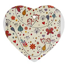 Spring Floral Pattern With Butterflies Heart Ornament (Two Sides)