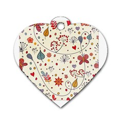 Spring Floral Pattern With Butterflies Dog Tag Heart (Two Sides)