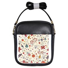 Spring Floral Pattern With Butterflies Girls Sling Bags