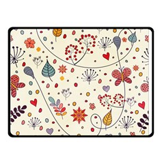Spring Floral Pattern With Butterflies Fleece Blanket (Small)