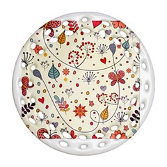 Spring Floral Pattern With Butterflies Ornament (Round Filigree)