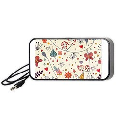 Spring Floral Pattern With Butterflies Portable Speaker (Black)