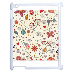 Spring Floral Pattern With Butterflies Apple iPad 2 Case (White)