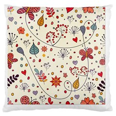 Spring Floral Pattern With Butterflies Large Cushion Case (Two Sides)