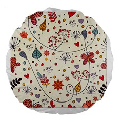 Spring Floral Pattern With Butterflies Large 18  Premium Round Cushions