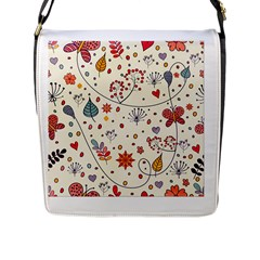 Spring Floral Pattern With Butterflies Flap Messenger Bag (L)