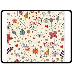 Spring Floral Pattern With Butterflies Double Sided Fleece Blanket (Large)