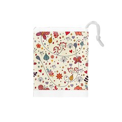 Spring Floral Pattern With Butterflies Drawstring Pouches (Small)