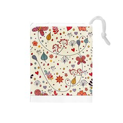 Spring Floral Pattern With Butterflies Drawstring Pouches (Medium)