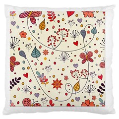 Spring Floral Pattern With Butterflies Large Flano Cushion Case (Two Sides)