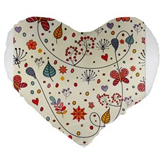 Spring Floral Pattern With Butterflies Large 19  Premium Flano Heart Shape Cushions