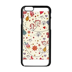Spring Floral Pattern With Butterflies Apple iPhone 6/6S Black Enamel Case