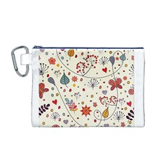 Spring Floral Pattern With Butterflies Canvas Cosmetic Bag (M)