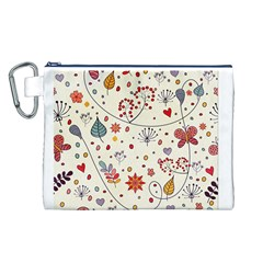 Spring Floral Pattern With Butterflies Canvas Cosmetic Bag (L)