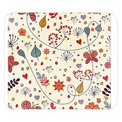 Spring Floral Pattern With Butterflies Double Sided Flano Blanket (Small)