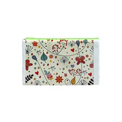 Spring Floral Pattern With Butterflies Cosmetic Bag (XS)