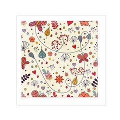Spring Floral Pattern With Butterflies Small Satin Scarf (Square)