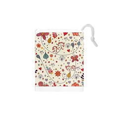 Spring Floral Pattern With Butterflies Drawstring Pouches (XS)