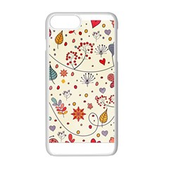 Spring Floral Pattern With Butterflies Apple Iphone 7 Plus White Seamless Case