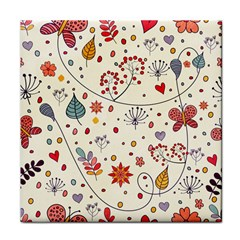 Spring Floral Pattern With Butterflies Tile Coasters