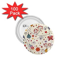 Spring Floral Pattern With Butterflies 1.75  Buttons (100 pack)