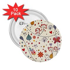 Spring Floral Pattern With Butterflies 2.25  Buttons (10 pack)