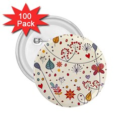 Spring Floral Pattern With Butterflies 2.25  Buttons (100 pack)
