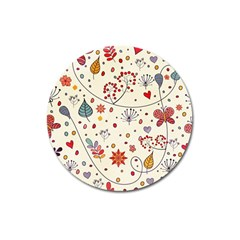 Spring Floral Pattern With Butterflies Magnet 3  (Round)