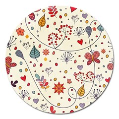 Spring Floral Pattern With Butterflies Magnet 5  (Round)