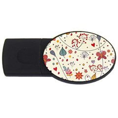 Spring Floral Pattern With Butterflies USB Flash Drive Oval (2 GB)