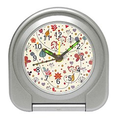 Spring Floral Pattern With Butterflies Travel Alarm Clocks