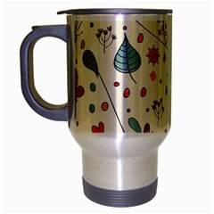 Spring Floral Pattern With Butterflies Travel Mug (Silver Gray)