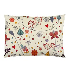 Spring Floral Pattern With Butterflies Pillow Case (Two Sides)