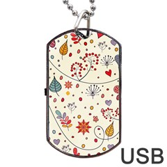 Spring Floral Pattern With Butterflies Dog Tag USB Flash (Two Sides)