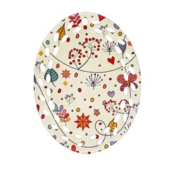 Spring Floral Pattern With Butterflies Oval Filigree Ornament (Two Sides)