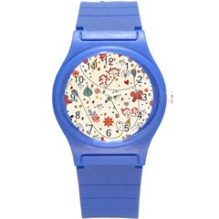 Spring Floral Pattern With Butterflies Round Plastic Sport Watch (S)
