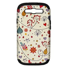 Spring Floral Pattern With Butterflies Samsung Galaxy S III Hardshell Case (PC+Silicone)