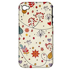 Spring Floral Pattern With Butterflies Apple iPhone 4/4S Hardshell Case (PC+Silicone)