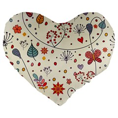 Spring Floral Pattern With Butterflies Large 19  Premium Heart Shape Cushions