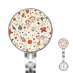 Spring Floral Pattern With Butterflies Stainless Steel Nurses Watch