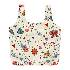 Spring Floral Pattern With Butterflies Full Print Recycle Bags (L)