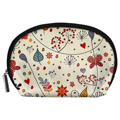 Spring Floral Pattern With Butterflies Accessory Pouches (Large)